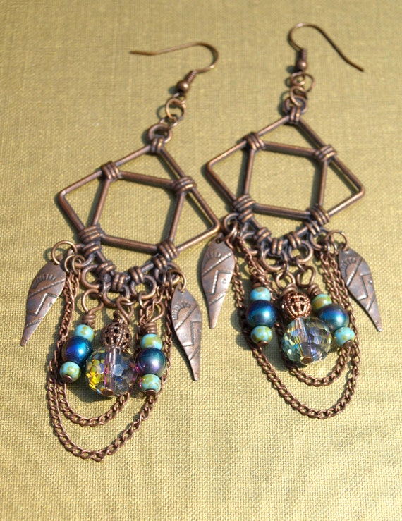 Planet Traveler Tribal Gypsy Earrings - Copper and Glass Beads Chandelier