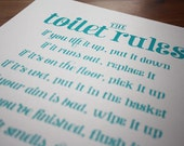 SALE - The Toilet Rules Handmade Silk Screen Print