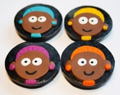 Afro Girls Polymer Clay Fridge Magnets Black Brown Purple Yellow Turquoise Orange