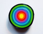 Psychedelic Swirl Polymer Clay Fridge Magnets Black Green Turquoise Blue Magenta Red Orange Yellow