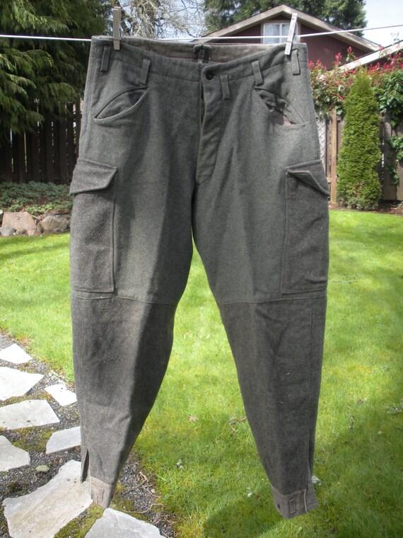 Vintage Men's WOOL WWII Swedish  Military Field Pants