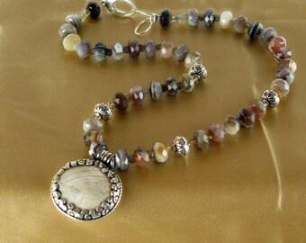 Botswana Agate Necklace, Botswana Agate, Sterling encased Shell, Agate, yoga jewelry, yoga inspired