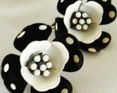 Polka Dot  Pin Up Flower Milkglass Earrings