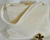 60s Lucite Ivory Bead Textured Purse