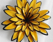 Yellow and Black Delilah Enamel Flower Brooch