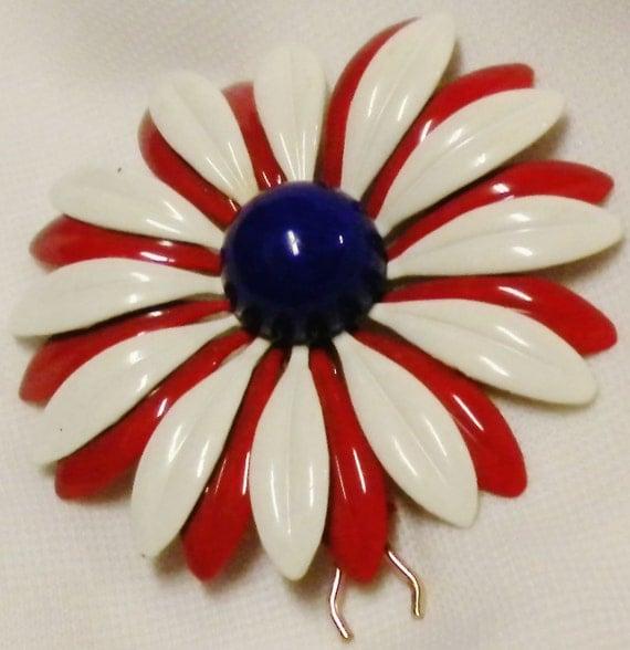 60s Enamel Flower Barrette  Red White & Blue