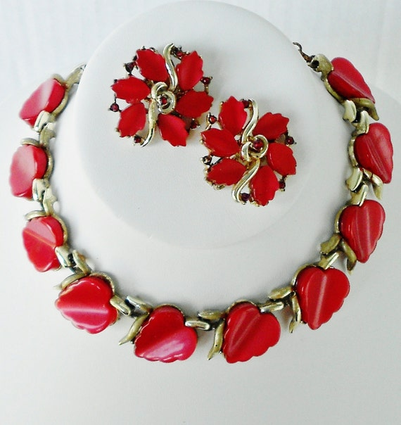 Red Lucite Moonglow Coro Thermoset Necklace & Earring Set