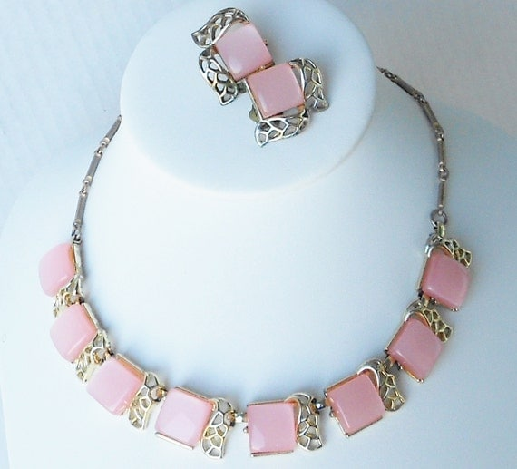 Pink Moonglow Lucite Coro Necklace Set