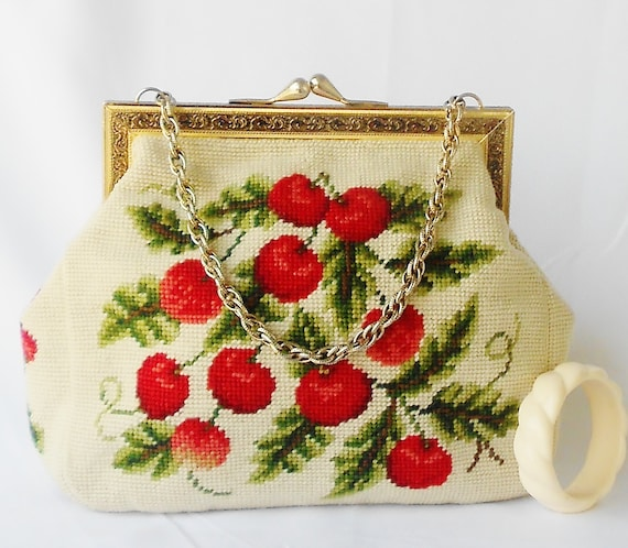 Cherries Purse Needle Point Pin Up  XL 12 x 9