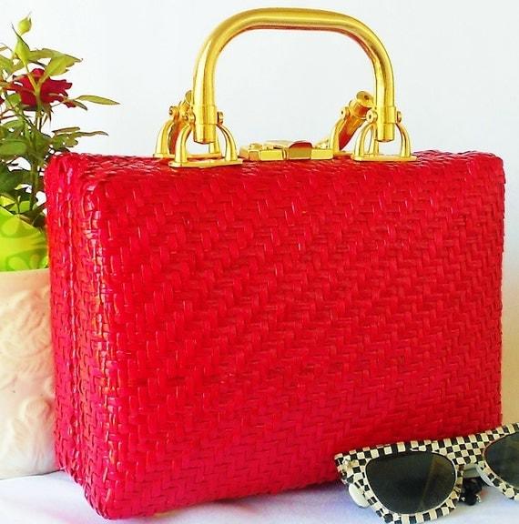 Rockabilly Red  Box Purse Italy Woven