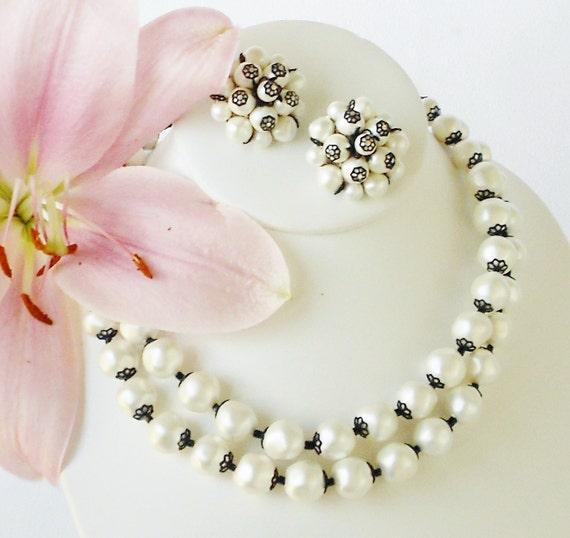 Summer Wedding Pearl Jewelry Set Signed Laguna