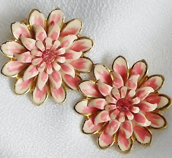 Summer Pink Enamel Earrings Signed Coro Hula Pin Up
