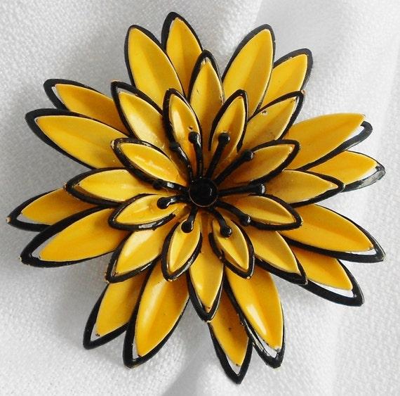 Yellow and Black Delilah Enamel Flower Brooch