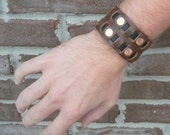 Men's Leather and Copper Bracelet Cuff