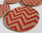 Set of 4 Red Chevron Cork Coasters