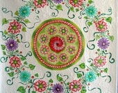 Hand-Painted Quilt Artistic Floral Wallhanging
