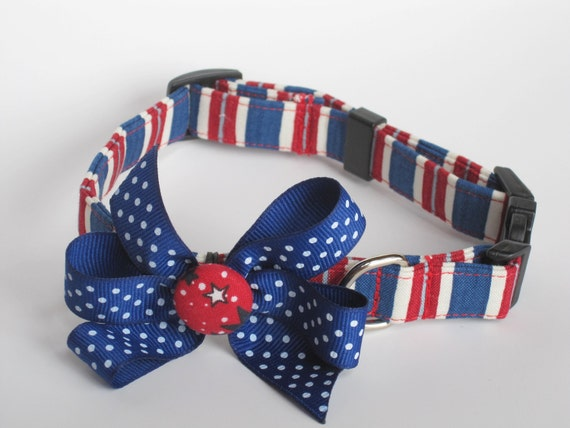 Patriotic Striped Dog Collar size Small