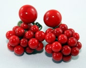 Vintage Red Glass Berry Earrings - Screw Back
