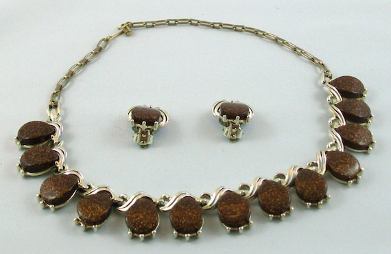 Vintage Rootbeer Thermoset Choker and Earring Set - Brown Sparkle