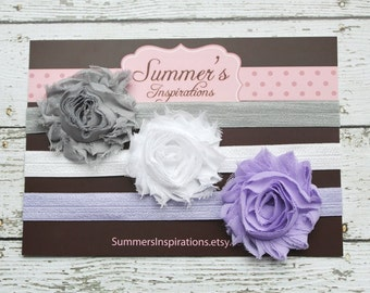 Baby Headbands - Shabby Headbands - Frayed Headbands - Grey White Purple