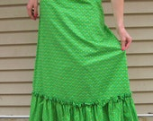Vintage Floral Print Green Maxi Skirt