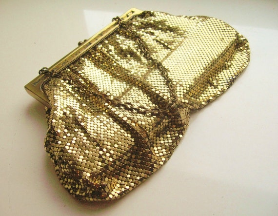 Vintage Gold Metallic Armored Mesh Purse