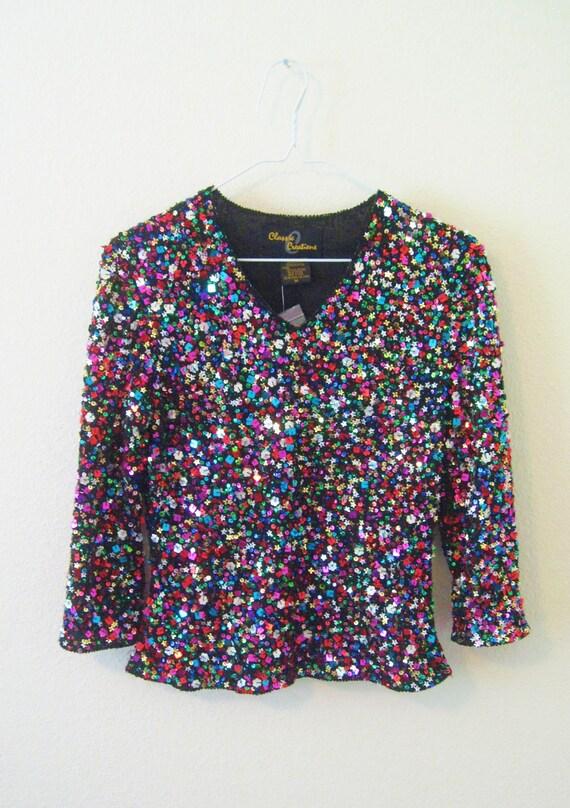 Vintage Colorful Sequins Medium Women's Top