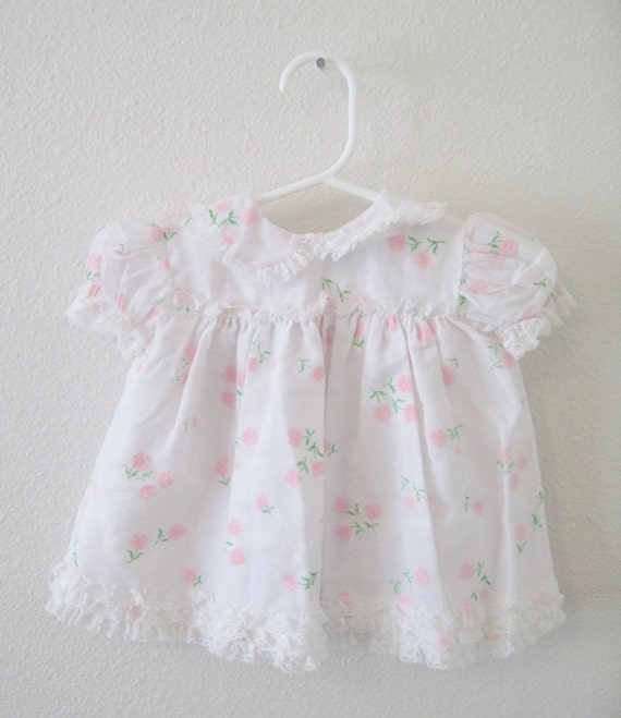Vintage White Baby Girl Lace Dress with Pink Flowers