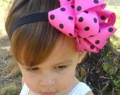 BUBBLE GUM PINK and Black Polka Dot Boutique Hair Bow
