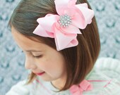GLAMOUR GIRL...Ballet Pink Satin Boutique Bow with Sparkling Centerpiece