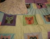 Feed Sack Owl Blanket