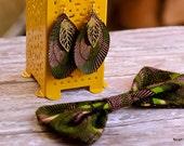 Dangling Earrings: Ankara African Wax print dark purple- brown, lime green, feathers
