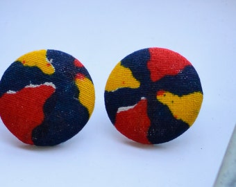Hypoallergenic earrings:  Large Ankara african wax fabric color wheel earrings, yellow, orange, blue and white