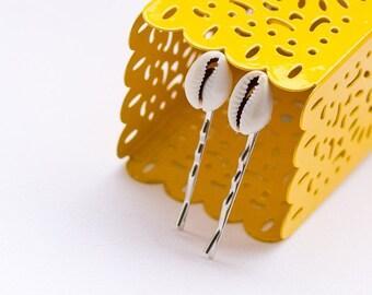 Cowry shell hair pins: Ethnic Cowrie shells hair pin, dreadlocks accessory
