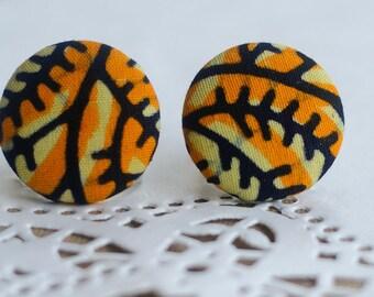 Hypoallergenic Stud Earrings: Large Ankara African wax print earrings, yellow branches