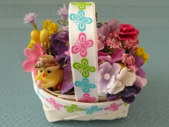 Miniature Silk Floral Easter Basket Arrangement