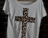 Leopard print cross on white t-shirt