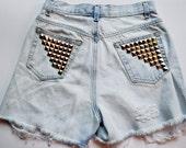 Vintage high Waisted denim studded shorts