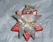 Paper mache box, star santa ornament, handmade