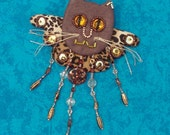 Cat jewelry: angel kitty pin, brown and leopard