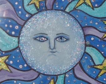Moon art, whimsical art painting