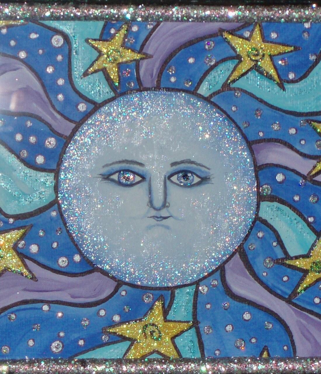 Moon Art Whimsical Art Painting