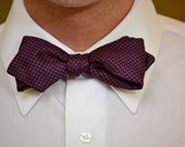1960s Vintage Navy and Red Silk Polka Dot Bow Tie