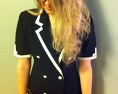 1980s Navy Power Suit Dress with White Trim