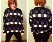 1980s Black, Purple, and White Pattern Sweater from Protege