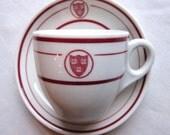 Vintage HARVARD Ve Ri Tas Shield - Syracuse China 3 Fluid Oz. Demitasse Cup & Saucer Mint Condition