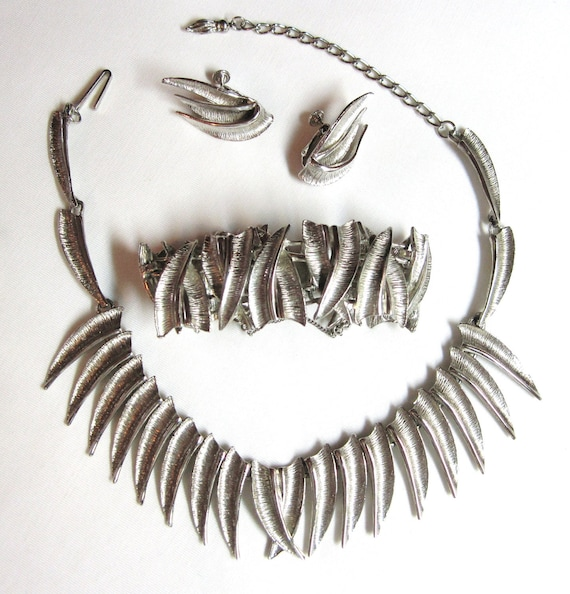Necklace, Bracelet, Earrings - Designer Elizabeth Morrey Vintage Parure - Silver Tone Savage Sexy Style 1950-60s RARE Designer Brand