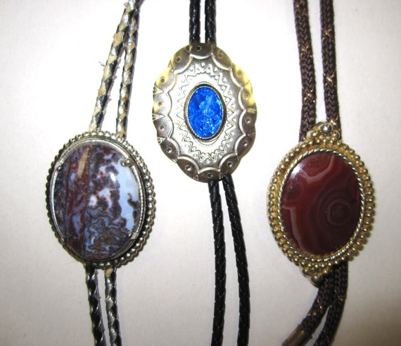 Bolo Ties Vintage 1950 to 70's Era - 3 Ties - Lapidary Stones and Blue Glass Concho - Southwestern Cowboy Country Dance Style