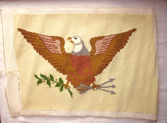 American Eagle Vintage Needlepoint Piece - Nearly complete, Needs Blocking and Framing - Patriotic Image of Supreme Power & Authority