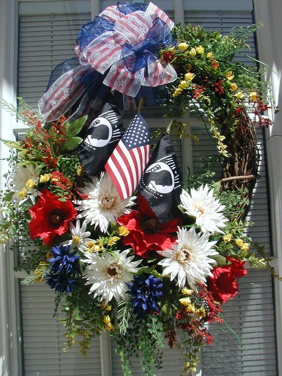 Patriotic Wreath Veterans Day Military Poppies July 4th Red White Blue USA POW MIA Flags Memorial Labor Day Summer Wreath Front Door Wreath